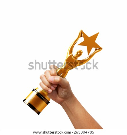 Star award in hand isolated on white background. - stock photo