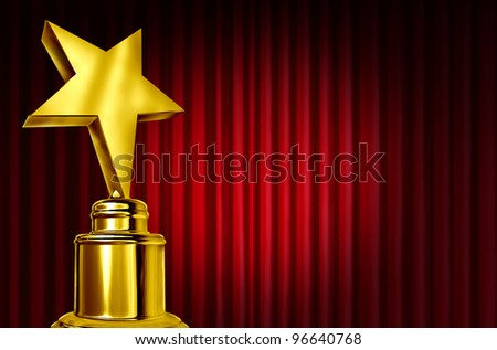 Star award on red curtains or velvet drapes with a spot light representing an achievement trophy prize on a theater stage during an awards ceremony to celebrate the winner of the golden shiny honor. - stock photo