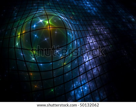 star ball in the net. fractal. - stock photo