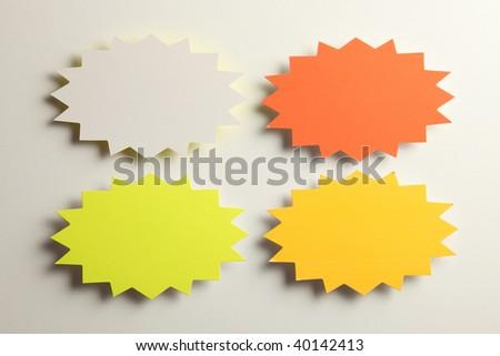 star burst blank tag design on the plain background - stock photo