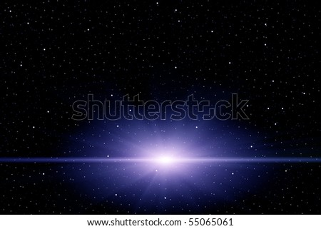 Star-Burst in Space with Star Filled Background - stock photo