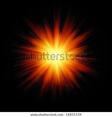 Star burst red and yellow fire on black background - stock photo