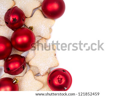 Star Christmas cookies and ornaments on white background - stock photo