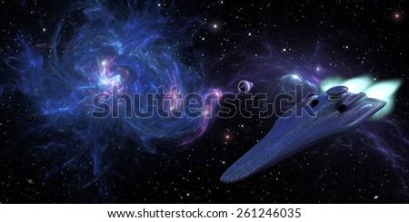 Star cruiser in deep space 3d rendering - stock photo