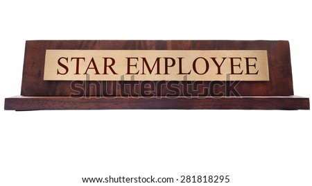 Star Employee wooden nameplate isolated on white