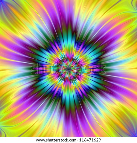 Star Explosion/Digital abstract image with a exploding star design in yellow, blue and purple.