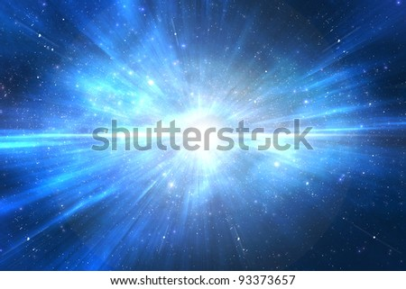 Star explosion in a galaxy of an unknown universe - stock photo
