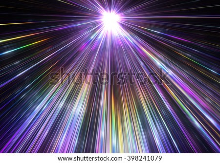 Star explosion with particles and rays - stock photo