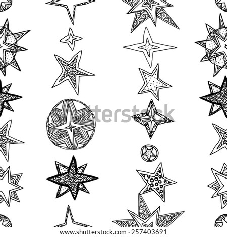 Star fantasy seamless pattern. Black and white.