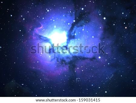 Star field in  deep space many light years far from the Earth - stock photo