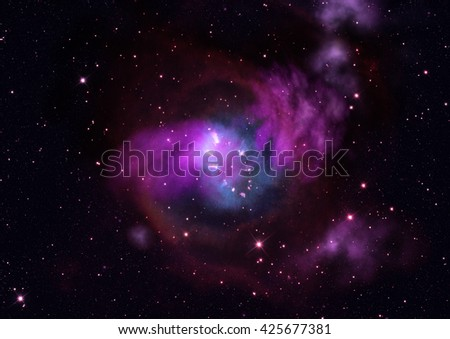 Star field in space and a nebulae - stock photo