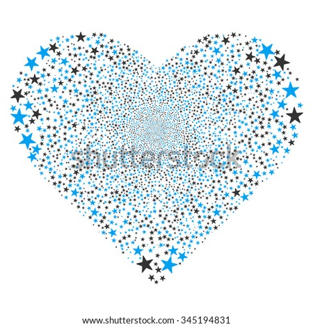 Star Fireworks Heart glyph illustration. Style is blue and gray bicolor flat stars, white background.