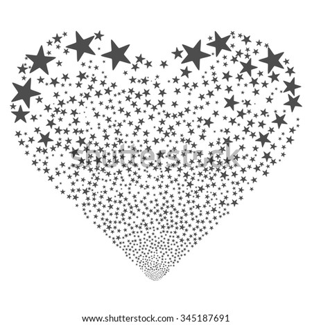 Star Fireworks Heart glyph illustration. Style is gray flat stars, white background. - stock photo