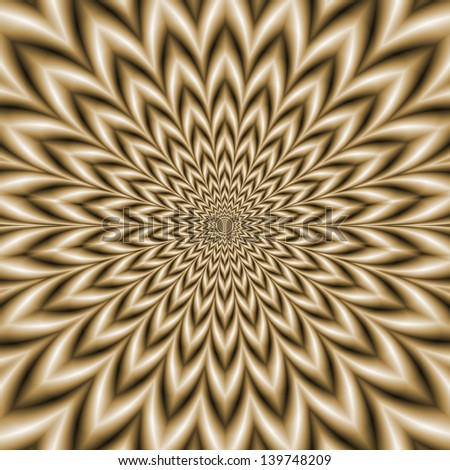 Star Flower in Sepia  / Digital abstract fractal image with a monochrome star flower design in sepia toned rings.