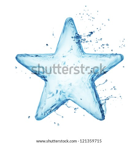 Star from water splash isolated on white - stock photo