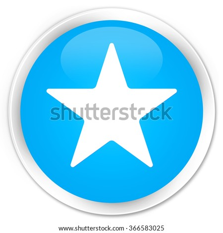 Star icon cyan blue glossy round button - stock photo