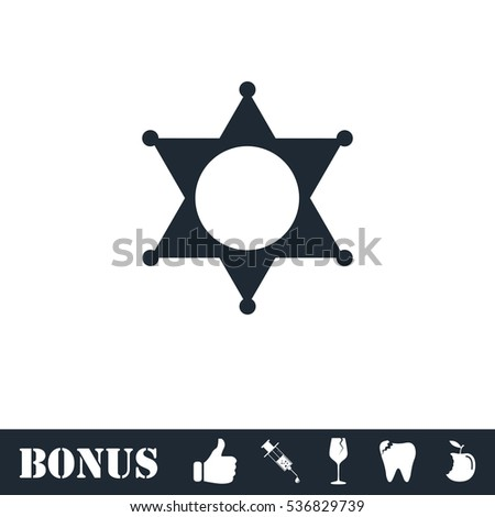 Star icon flat. Simple illustration symbol and bonus pictogram