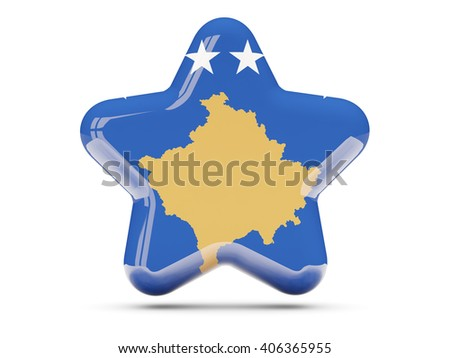 Star icon with flag of kosovo. 3D illustration