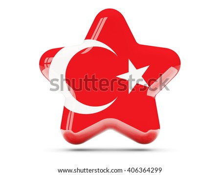 Star icon with flag of turkey. 3D illustration