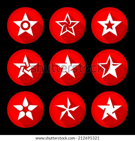 Star icons set illustration raster version - stock photo
