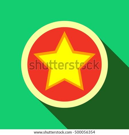 Star Circle Icon Flat Style Long Stock Illustration 500056354