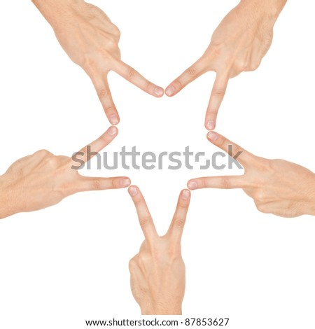 star made of human hands isolated on white background - stock photo