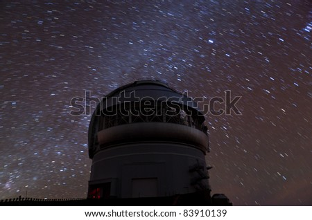 Star observatory in Hawaii at night with Milky Way - stock photo