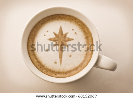 star of Bethlehem drawing on latte art coffee cup