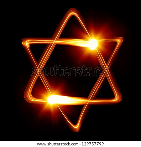 Star of David created by light - stock photo