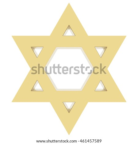 Star of David isolated on white background. Include clipping path. 3D render