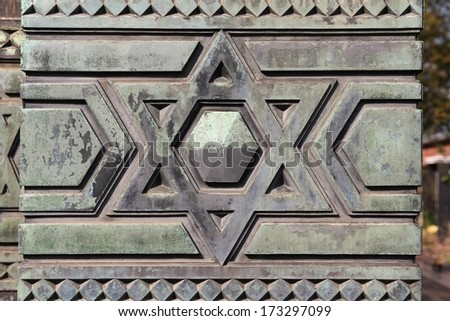 Star of David - Jewish symbol on an old Hebrew grave in Milan, Italy. - stock photo
