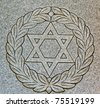 Star of David on old grunge granite tombstone. Old Jewish cemetery in California - stock photo