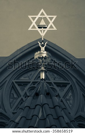 Star of David, symbol of Judaism, the symbol of the Jews. Cold tone pictures. - stock photo