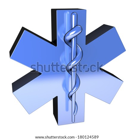 Star of Life, blue metallic surface, from top, 3d rendering - stock photo