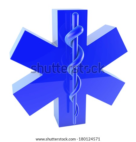 Star of Life, blue plastic surface, from top, 3d rendering - stock photo