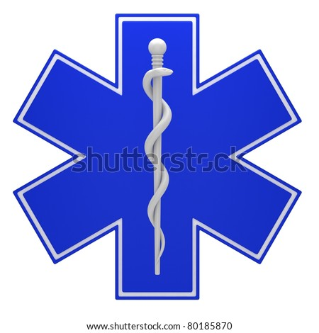 Star of life medical symbol isolated on a white background. - stock photo