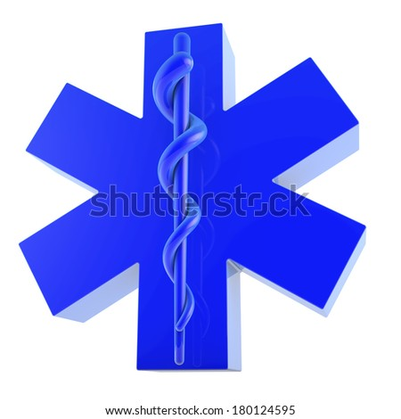 Star of Life, neon, blue plastic surface, from below, 3d rendering - stock photo