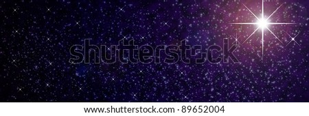 Star on black space - stock photo