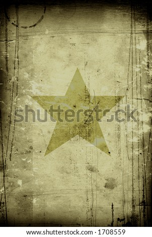 star on old, grunge vintage paper - stock photo