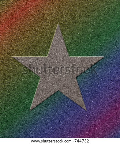 Star on rainbow filtered background