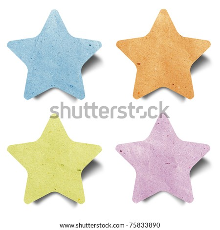 star recycled paper craft  stick on white background - stock photo