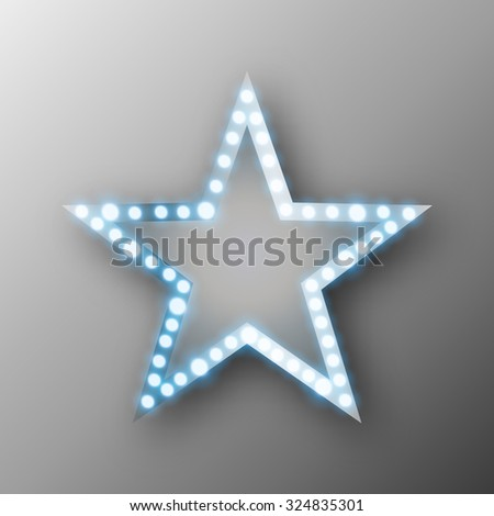 Star retro banner with lights illustration - stock photo