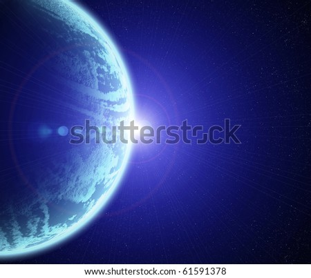 Star rising over a planet surface