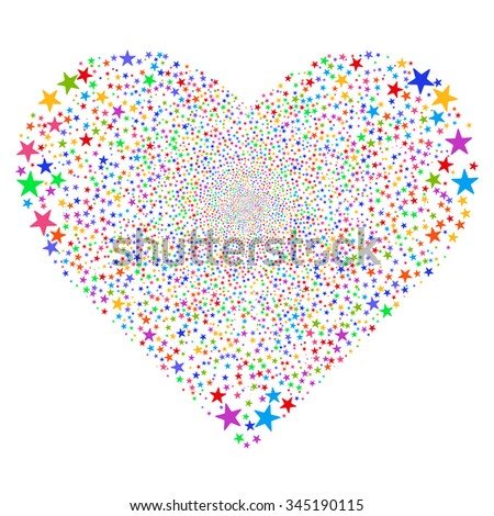 Star Salute Heart glyph illustration. Style is bright multicolored flat stars, white background.