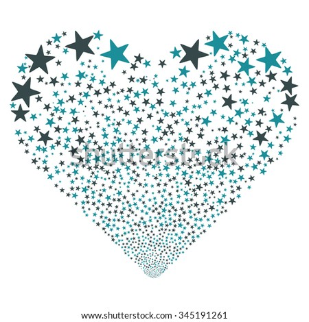 Star Salute Heart glyph illustration. Style is soft blue bicolor flat stars, white background. - stock photo