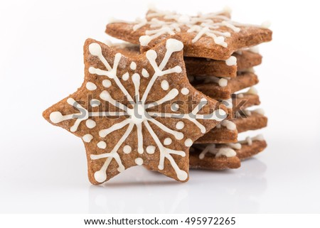 Star shape christmas gingerbread cookies isolated on white background