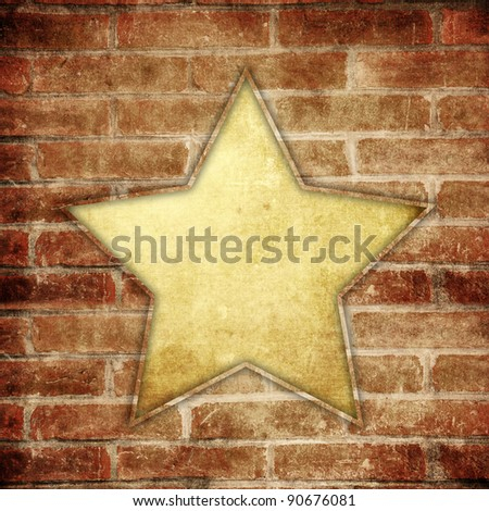 star shape frame on brick background