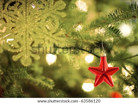 Star Shaped Christmas Decoration and Lights - stock photo