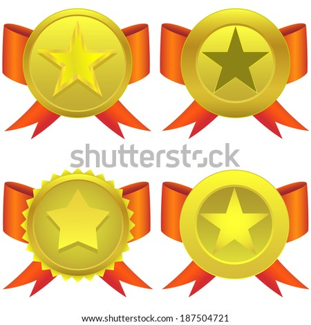 Star shaped medals on the white background. Raster illustration. - stock photo