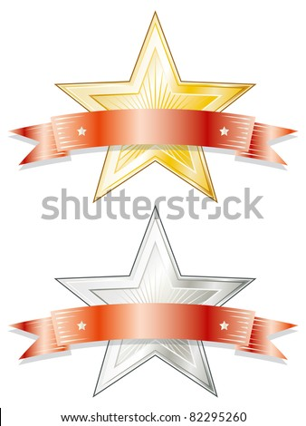 Star shaped metal badge/seal of approval in gold and silver look with a red ribbon on top. - stock photo